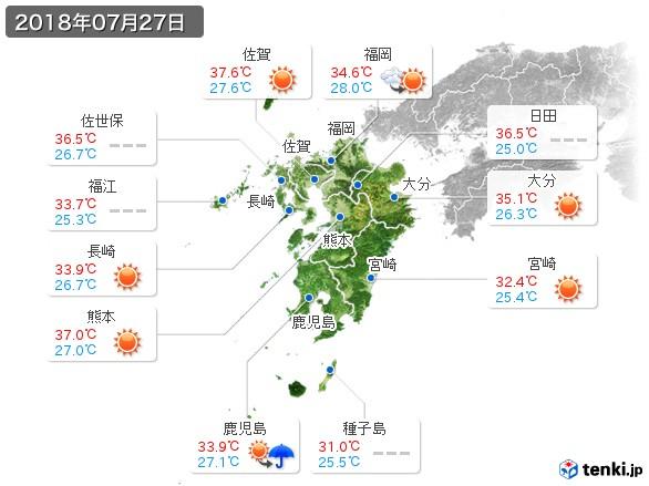 九州地方(2018年07月27日の天気