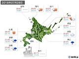 2018年07月28日の北海道地方の実況天気