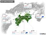 2018年07月28日の四国地方の実況天気