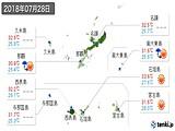 2018年07月28日の沖縄県の実況天気
