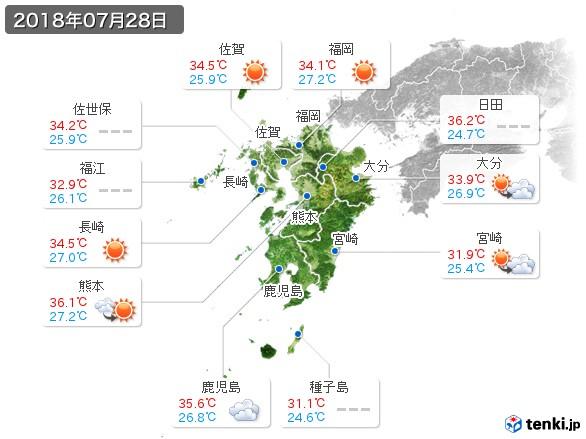 九州地方(2018年07月28日の天気