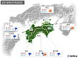 2018年07月30日の四国地方の実況天気