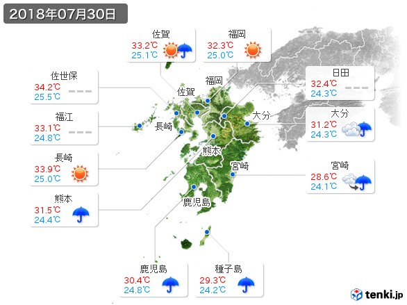 九州地方(2018年07月30日の天気