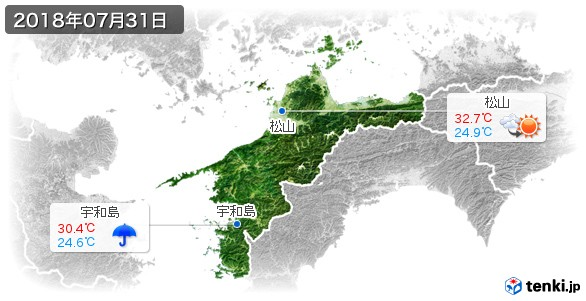 愛媛県(2018年07月31日の天気