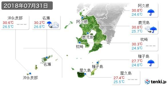 鹿児島県(2018年07月31日の天気
