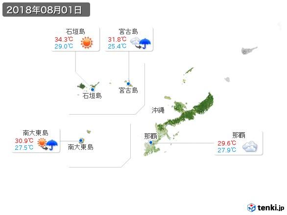 沖縄地方(2018年08月01日の天気
