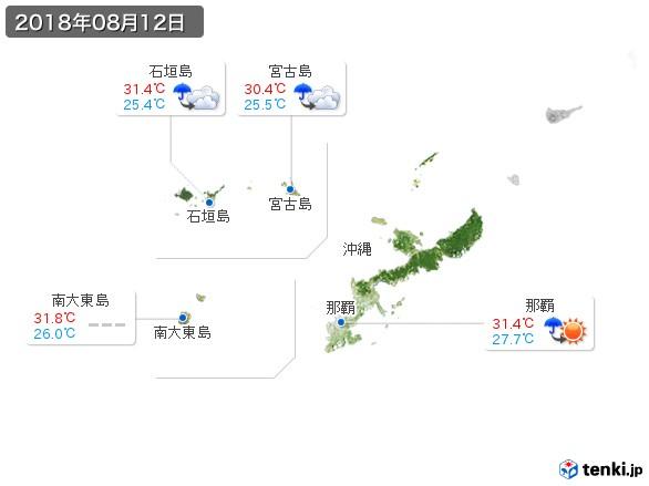 沖縄地方(2018年08月12日の天気