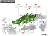 2018年08月14日の中国地方の実況天気