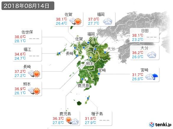 九州地方(2018年08月14日の天気