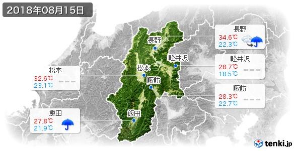 長野県(2018年08月15日の天気