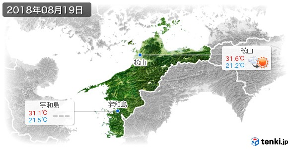 愛媛県(2018年08月19日の天気