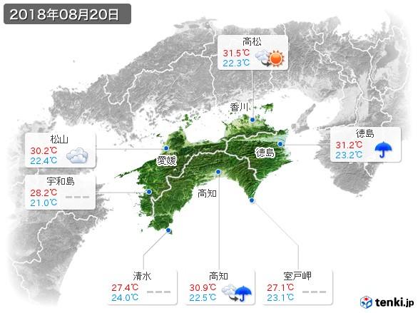 四国地方(2018年08月20日の天気
