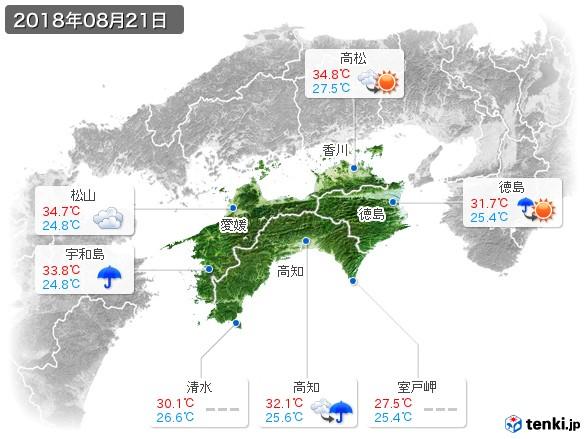 四国地方(2018年08月21日の天気