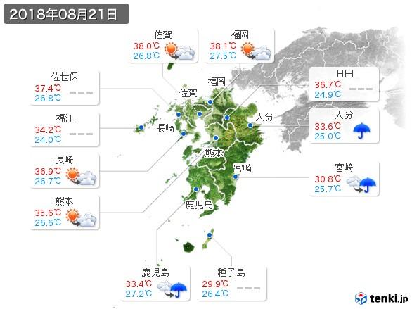 九州地方(2018年08月21日の天気