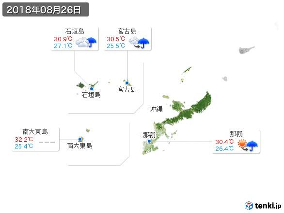 沖縄地方(2018年08月26日の天気
