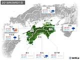 2018年09月01日の四国地方の実況天気