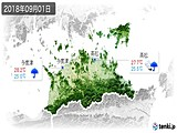 2018年09月01日の香川県の実況天気