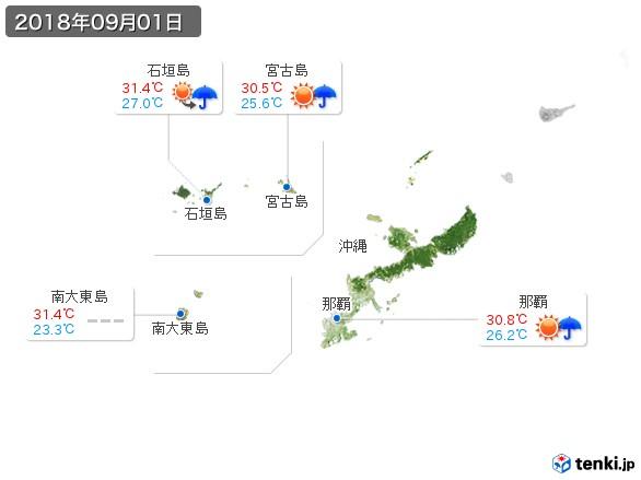 沖縄地方(2018年09月01日の天気