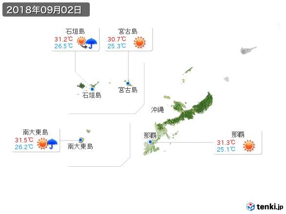 沖縄地方(2018年09月02日の天気