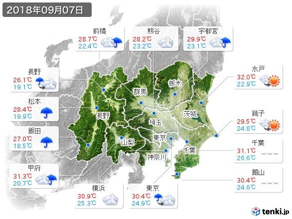 関東・甲信地方(2018年09月07日の天気
