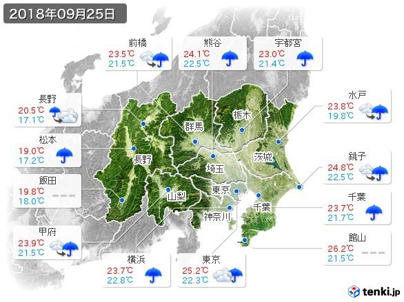 関東・甲信地方(2018年09月25日の天気