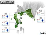 2018年10月01日の道南の実況天気