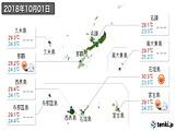 2018年10月01日の沖縄県の実況天気
