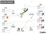 2018年10月02日の沖縄県の実況天気