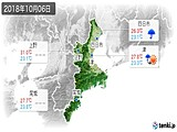 2018年10月06日の三重県の実況天気