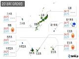 2018年10月09日の沖縄県の実況天気