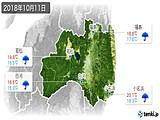 2018年10月11日の福島県の実況天気