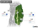 2018年10月11日の岩手県の実況天気