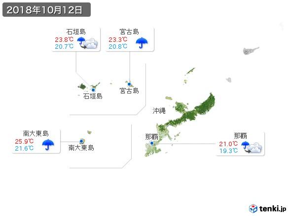 沖縄地方(2018年10月12日の天気