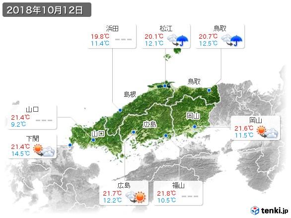 中国地方(2018年10月12日の天気