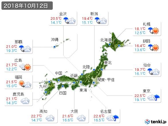 過去の天気(実況天気・2018年10月12日) - 日本気象協会 tenki.jp