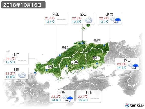 中国地方(2018年10月16日の天気