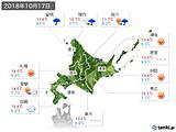 2018年10月17日の北海道地方の実況天気