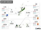 2018年10月22日の沖縄県の実況天気
