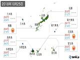 2018年10月25日の沖縄県の実況天気