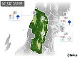 2018年10月29日の山形県の実況天気