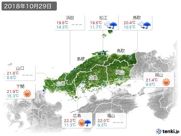 中国地方(2018年10月29日の天気