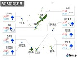 2018年10月31日の沖縄県の実況天気