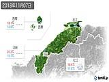 2018年11月07日の島根県の実況天気