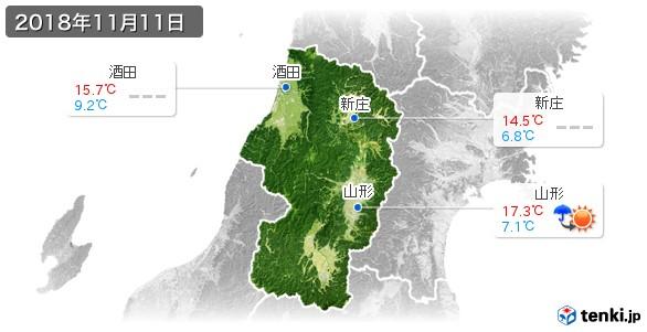 山形県(2018年11月11日の天気