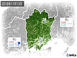 2018年11月13日の岡山県の実況天気