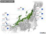 2018年11月23日の北陸地方の実況天気