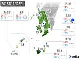 2018年11月26日の鹿児島県の実況天気