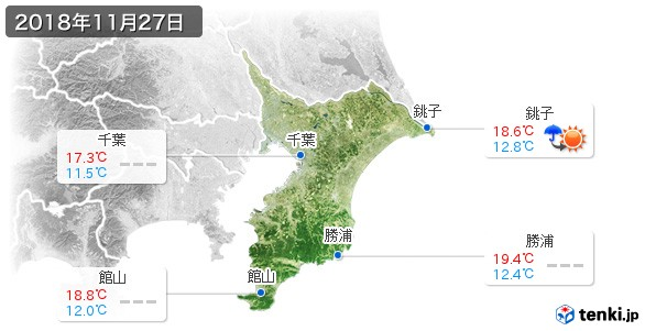 千葉県(2018年11月27日の天気