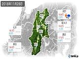 2018年11月28日の長野県の実況天気