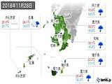 2018年11月28日の鹿児島県の実況天気
